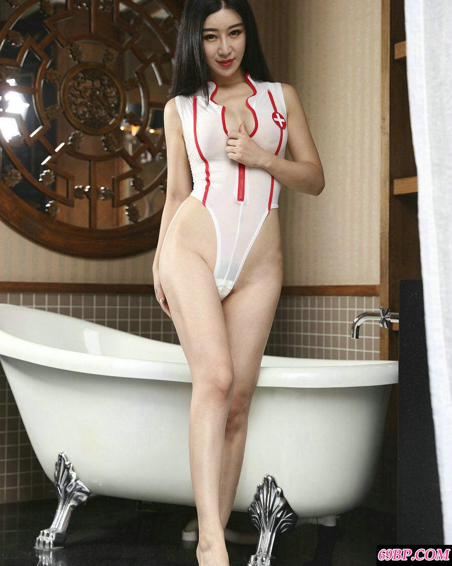 模特王予诺情趣护士装配性感内衣透明摄影
